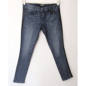 EXPRESS STELLA BLUE LEATHER TUXEDO JEANS 12R